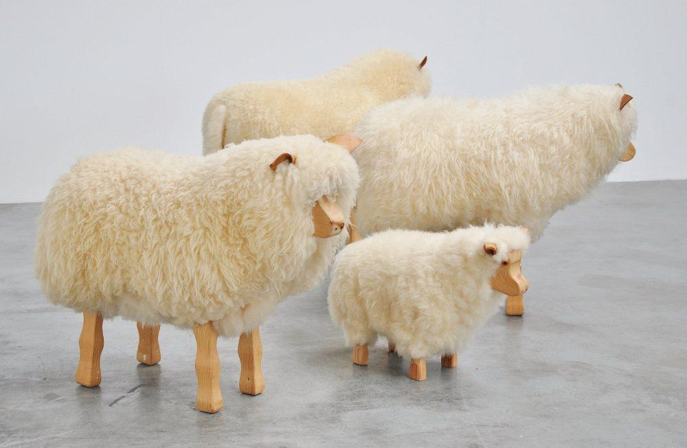 Decorative life-size sheep set ca 1960s