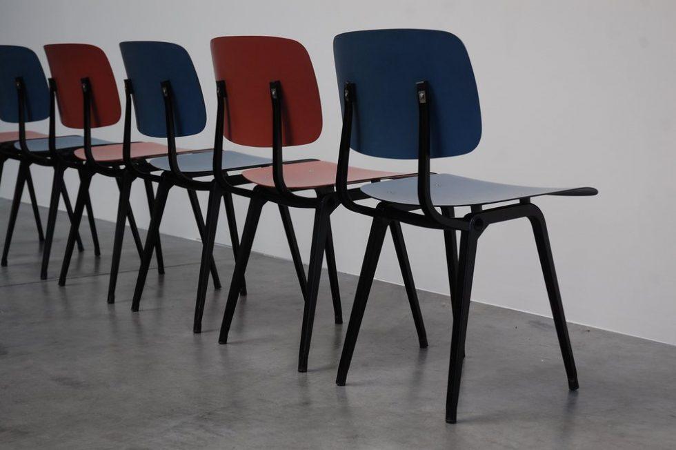 Friso Kramer Revolt chairs set of 6 colorful for Ahrend de Cirkel 1953