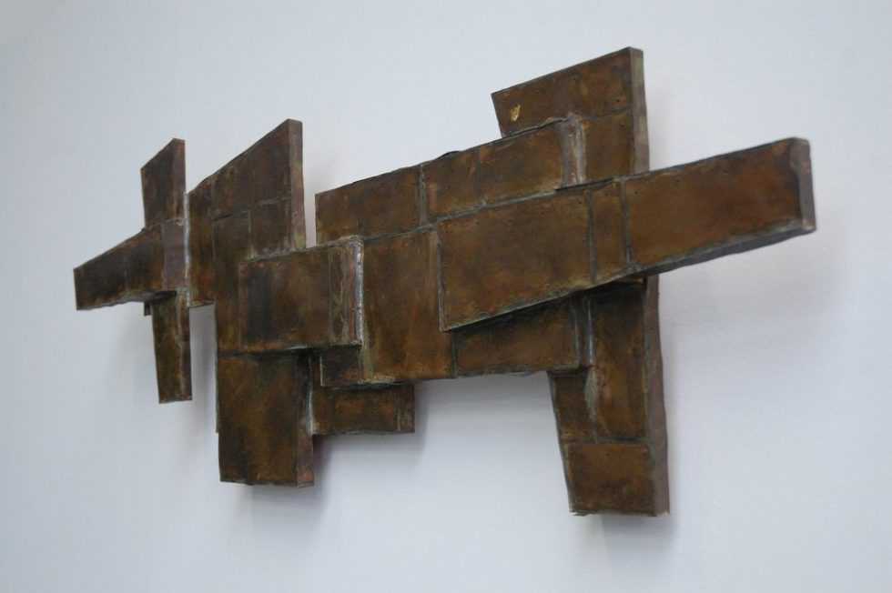 Brass covered abstract modern dog '57
