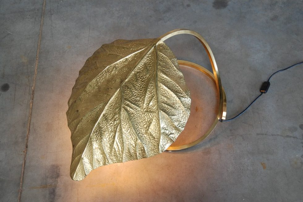 Tomasso Barbi floor lamp leaf shaped Italy 1966