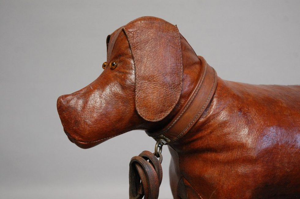 French 1950s dog shaped footstool