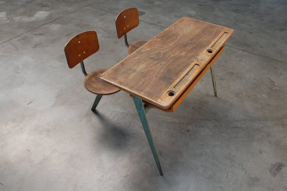 Jean Prouve Compass school desk for Ateliers Jean Prouve in 1952
