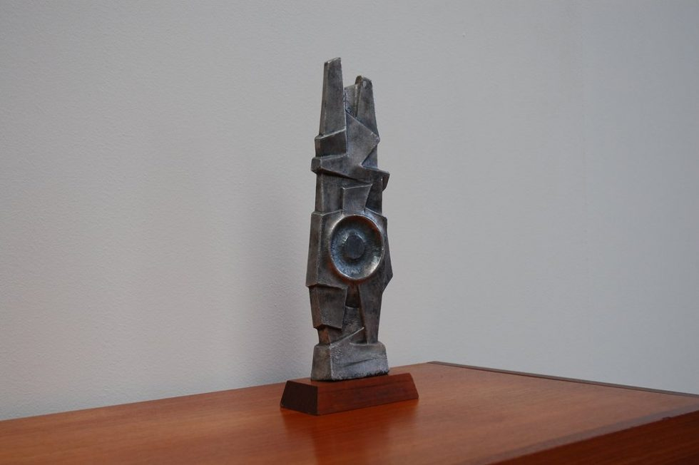 Willy Ceysens geometric aluminum sculpture dated 1960