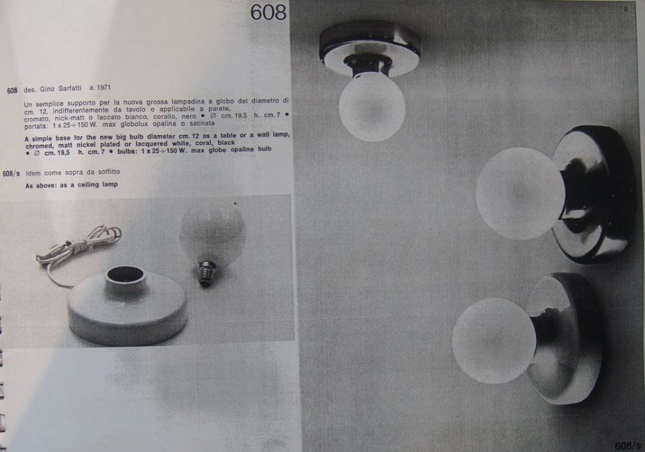 Gino Sarfatti sconces for Arteluce Mod. No. 608 1971