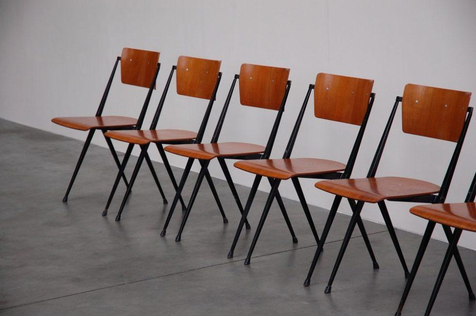 Wim Rietveld Pyramid chairs set of 6 Ahrend de Cirkel 1960