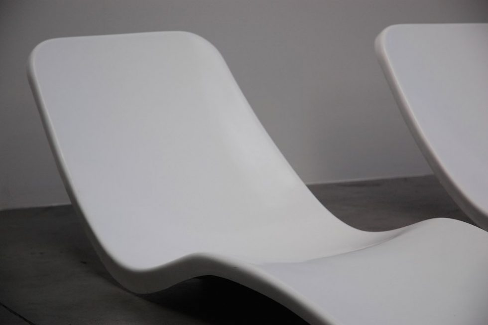 Charles Zublena chaise longue pair, France 1970