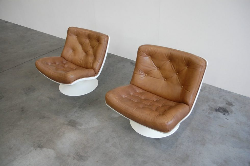 Geoffrey Harcourt Artifort F976 Chairs pair Brown leather 1968