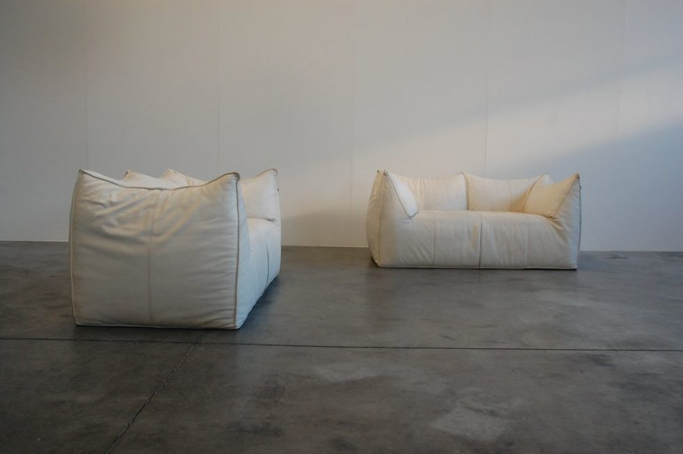 Mario Bellini Bambole sofa set in white leather B&B 1972