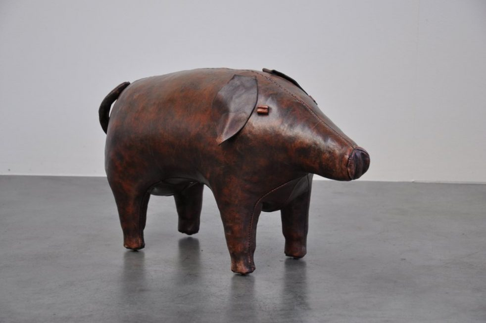 Leather pig foot stool, England 1960
