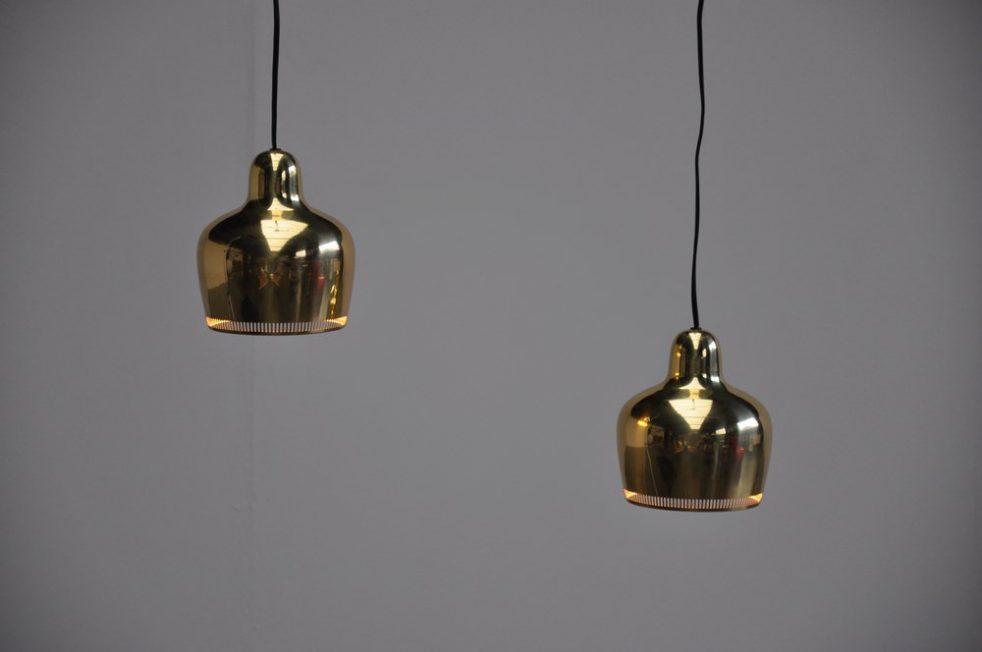 Alvar Aalto golden bell lamp pair 1937