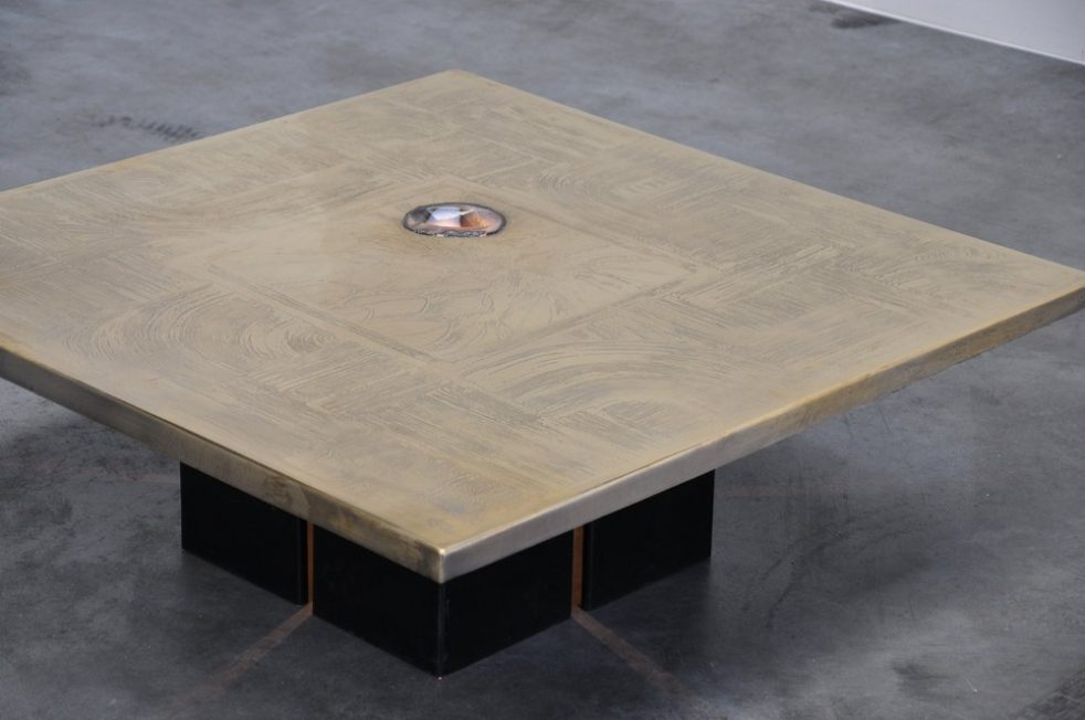 Christian Heckscher etched coffee table with agate 1973