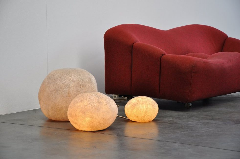 Andre Cazenave rock lamp set of 3 Atelier A 1970