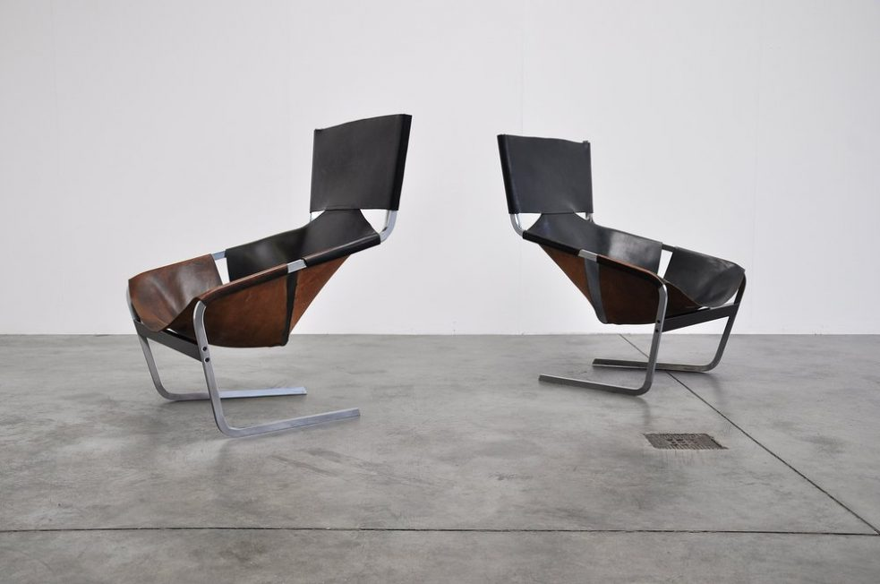 Pierre Paulin F444 Artifort chairs in black leather 1963