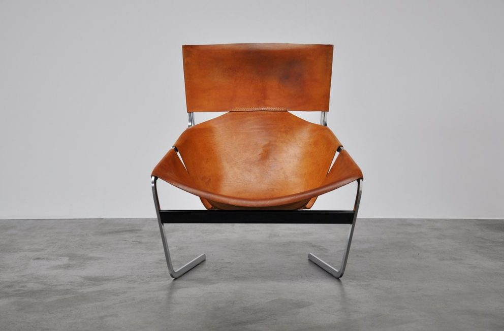 Paulin F444 Artifort chair in natural leather 1963