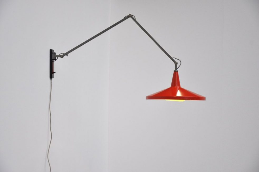 Wim Rietveld Gispen panama red wall lamp 1955