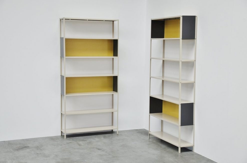 Friso Kramer Bijenkorf bookcase pair for Asmeta, 1953