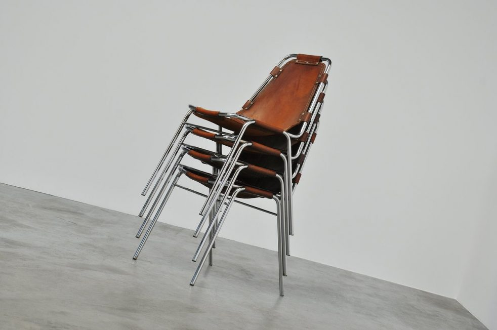 Charlotte Perriand chairs stackable, Les Arcs 1960