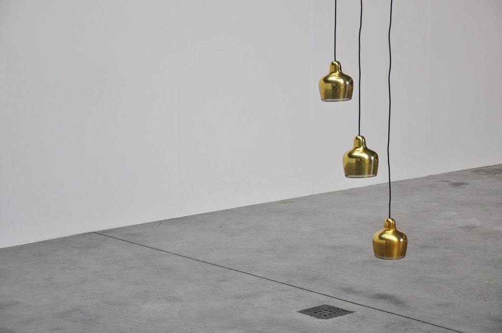 Alvar Aalto golden Bell ceiling fixture Louis Poulsen 1950