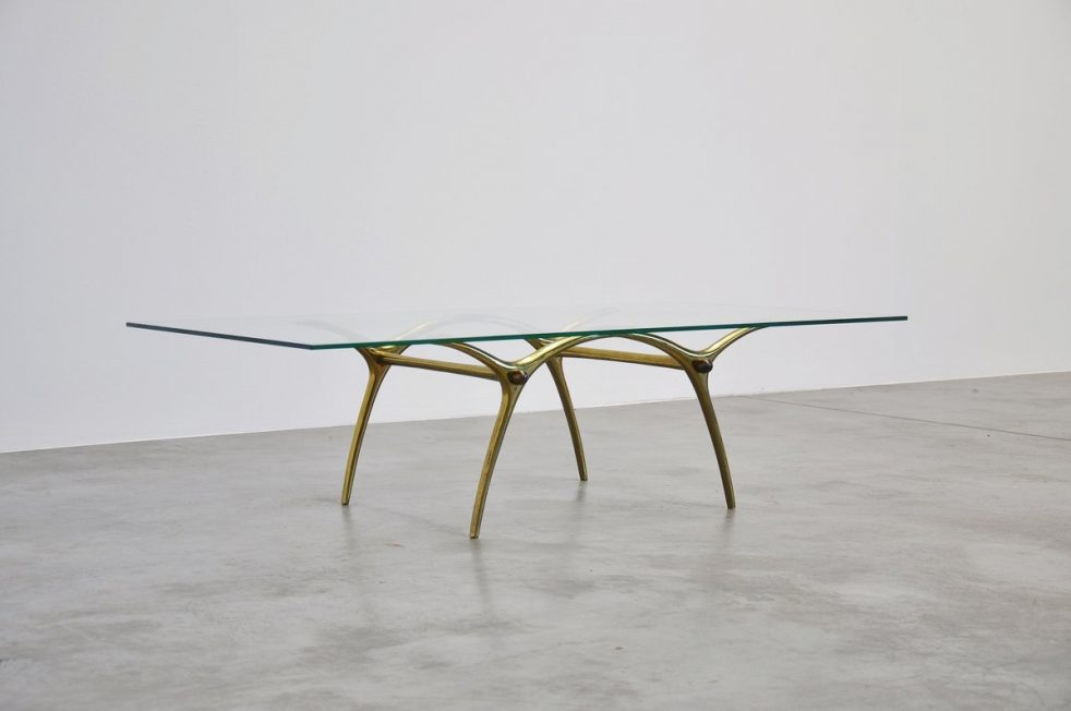 Italian brass coffee table with sculptural base 1950