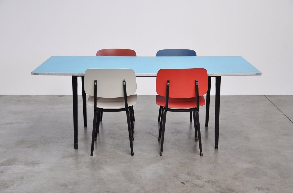 Friso Kramer Reform XL table blue linoleum Ahrend 1955