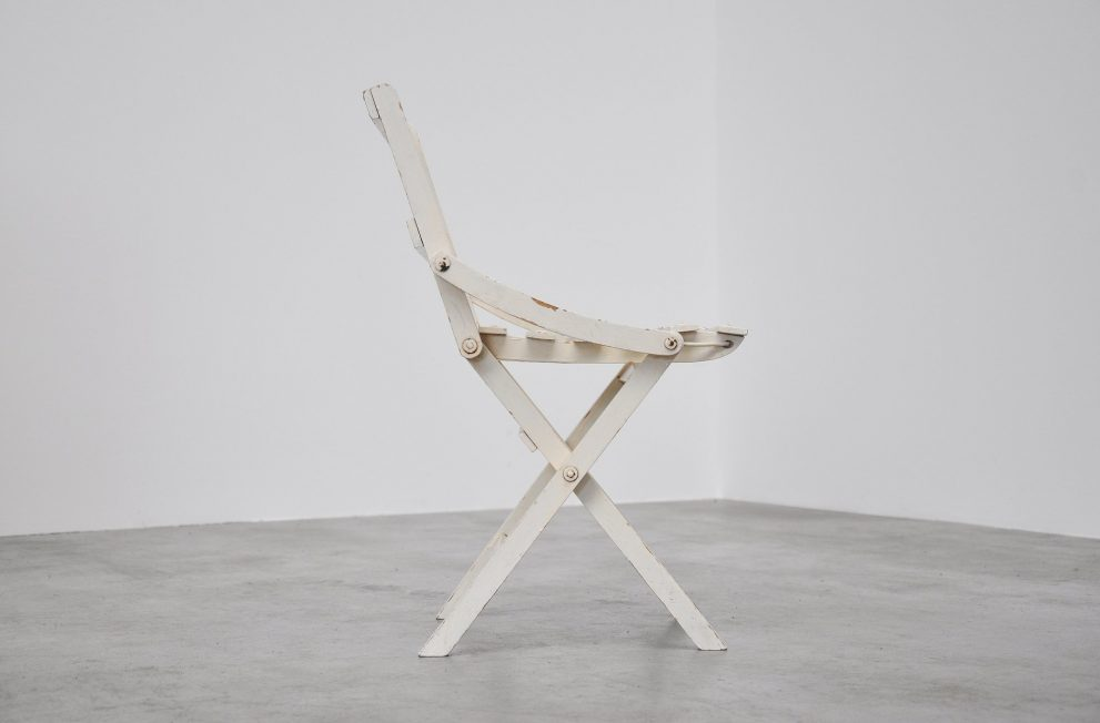 Dutch white wooden folding chair 1940