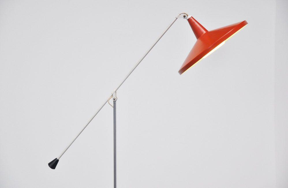 Wim Rietveld Gispen Panama red floor lamp 1955