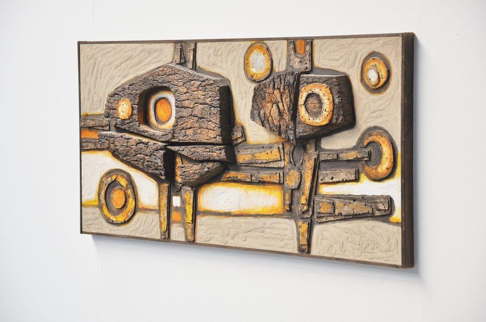 Dre Bogaert abstract modern wall relief, Belgium 1970