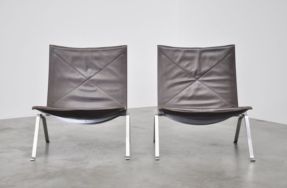 Poul Kjaerholm PK22 brown pair for E. Kold Christensen 1955