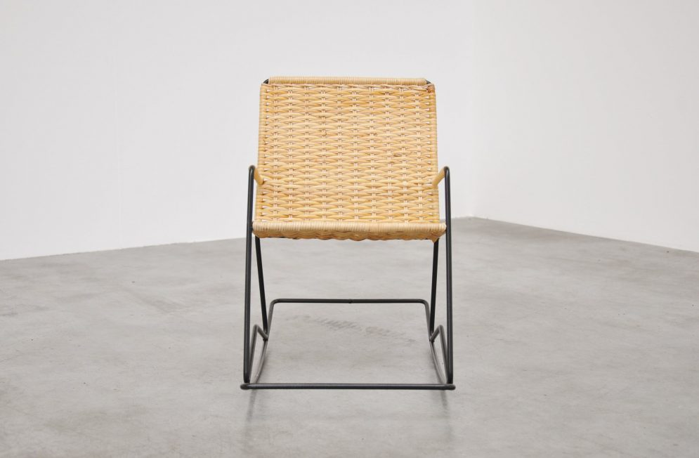 Kids wire and cane rocking chair ca 1950