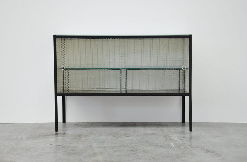 Rudolf Wolf glass and metal kitchen cabinet 1959