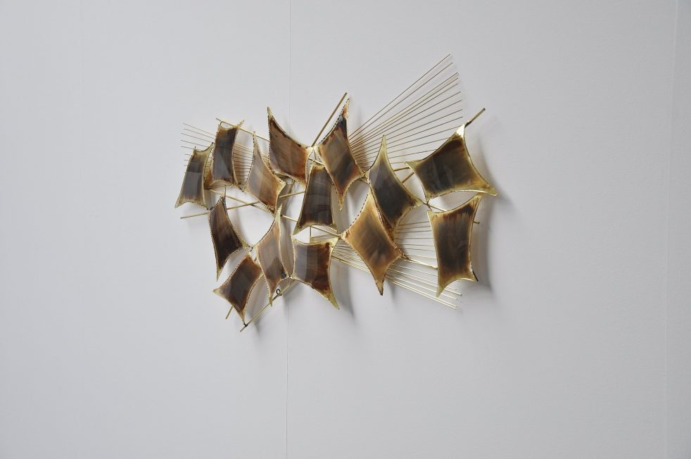 Curtis Jere attr brass abstract modern wall sculpture 1970