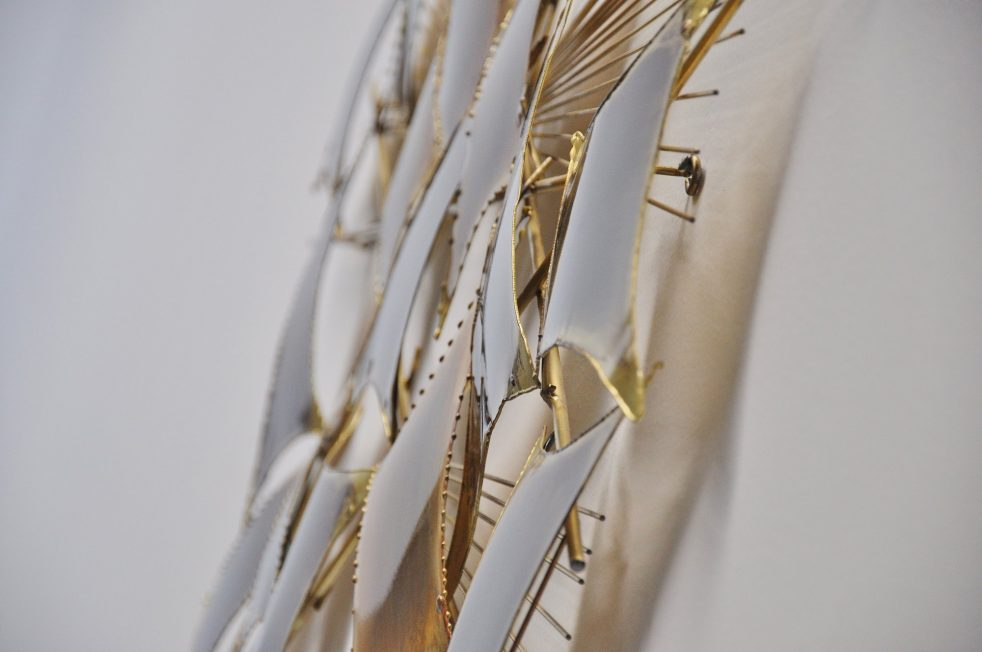 Curtis Jere attr brass abstract modern wall sculpture 1970