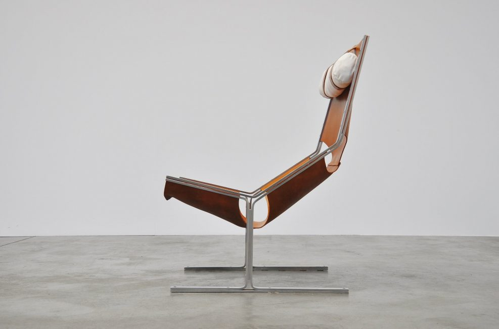 Polak leather and steel lounge chair 1960