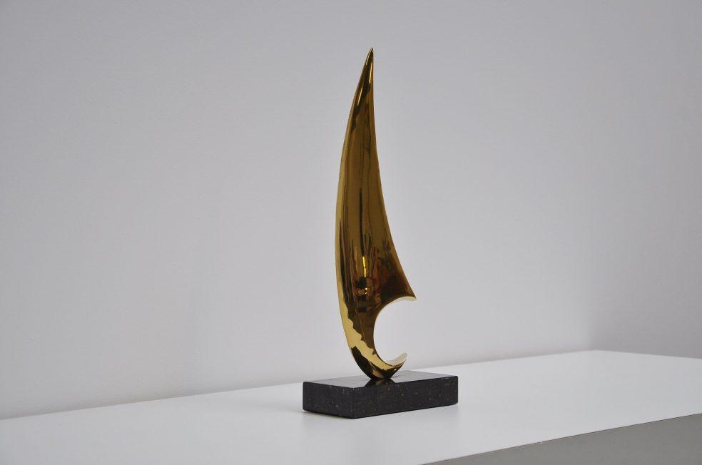 Abstract modern brass sailing boat, Belgium 1970