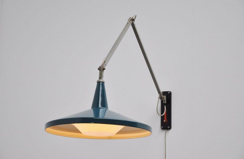 Wim Rietveld Gispen panama blue wall lamp 1955