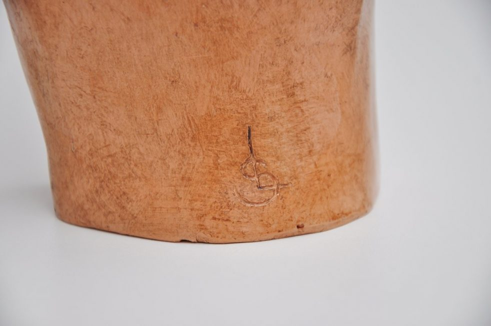 Abstract modern freeform ceramic sculpture signed 1970