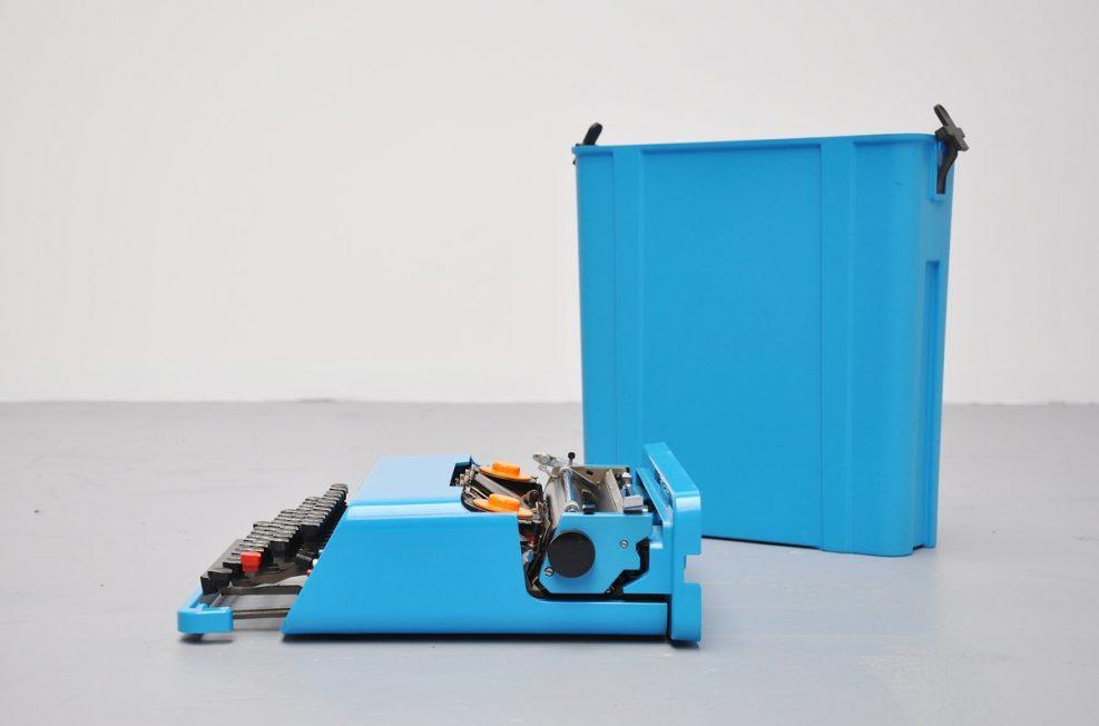 Ettore Sottsass Olivetti Valentine typewriter in blue 1969