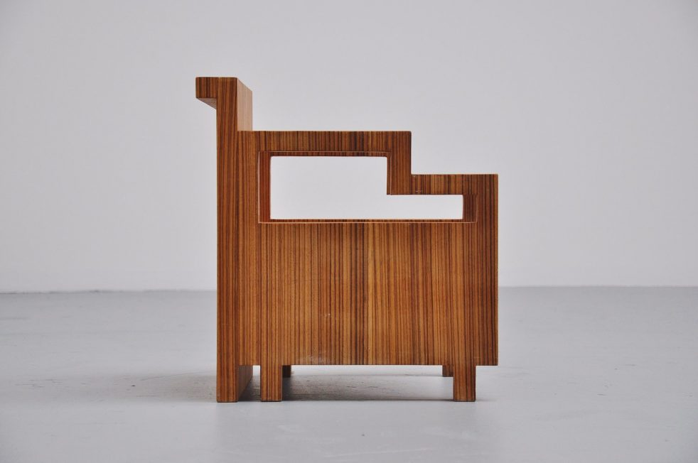 Art Deco kids chair zebrano veneer 1930s
