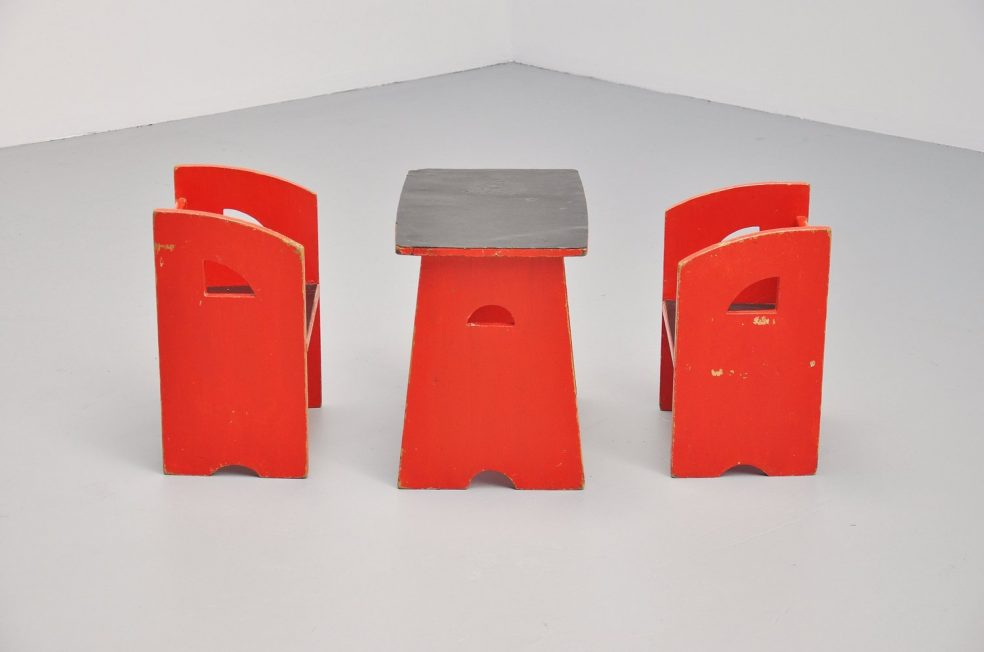 Modernist kids chairs and table Holland 1950