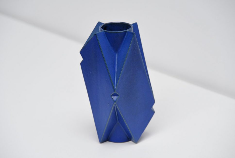 Jan van der Vaart blue ceramic vase 1989