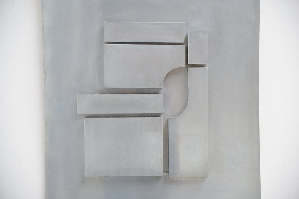 Aluminum wall sculpture in the manner of Andre Volten 1970