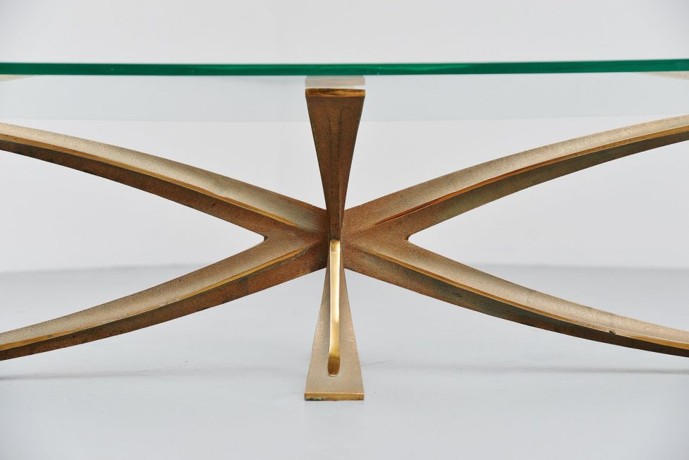 Michel Mangematin coffee table in bronze France 1965