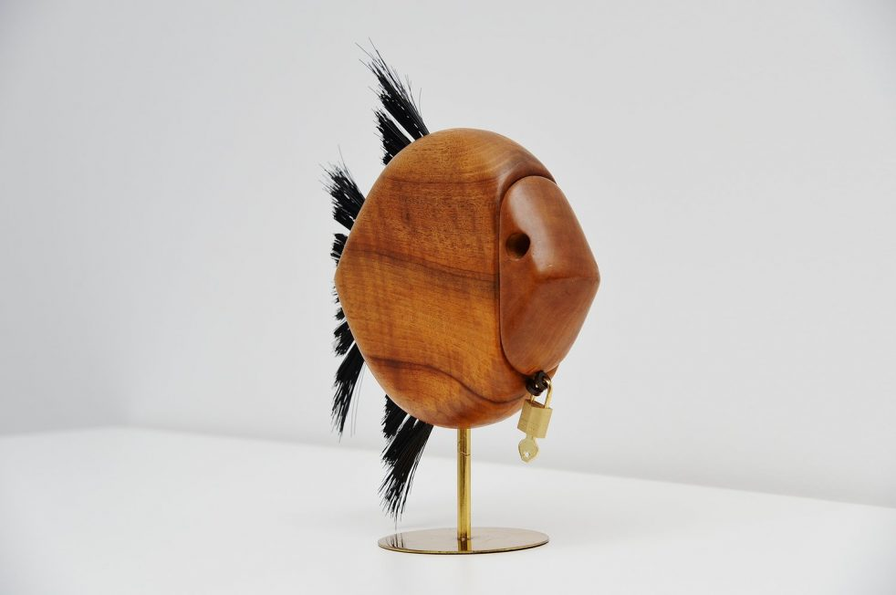Carl Aubock walnut fish shaped penny bank, Austria 1950