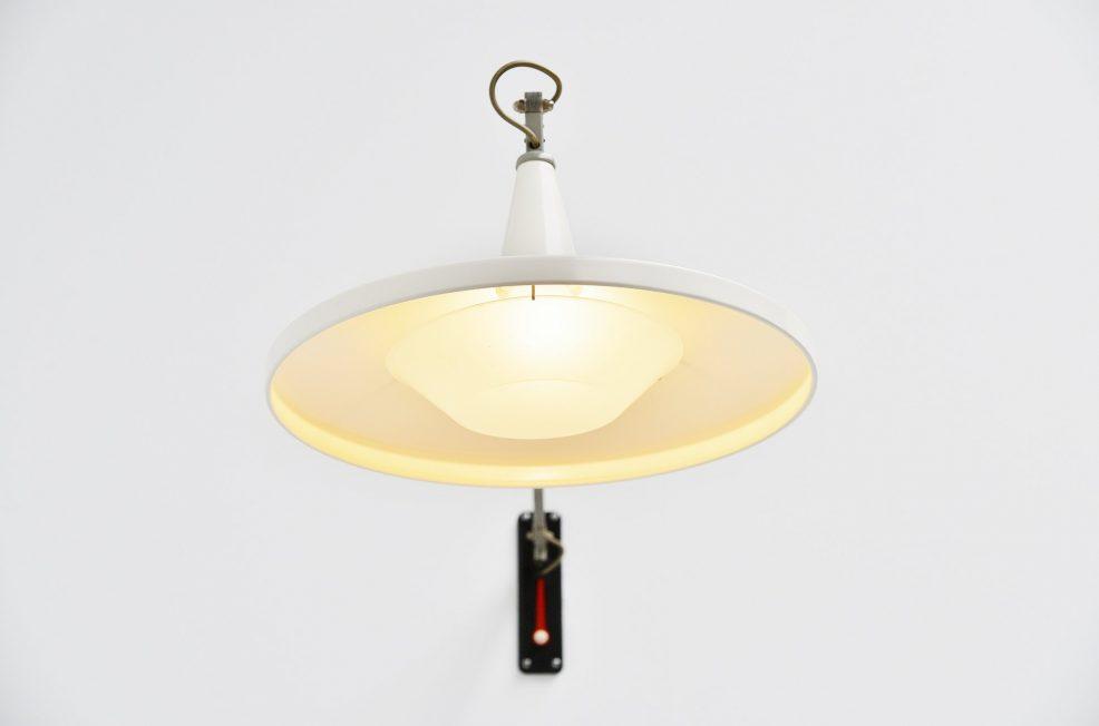 Wim Rietveld Gispen white 4050 Panama lamp 1955