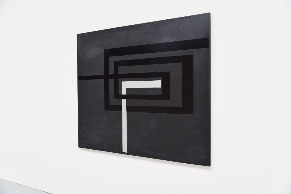 Rudolf Wolf large abstract geometric painting on board 1981