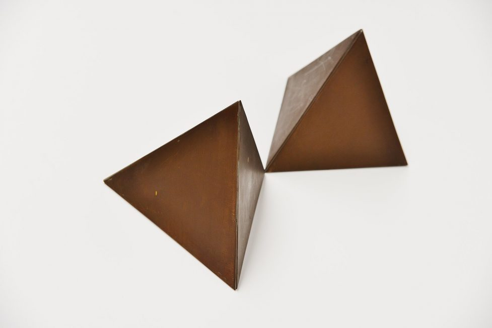 Rudolf Wolf bronze abstract geometric sculptures 1970