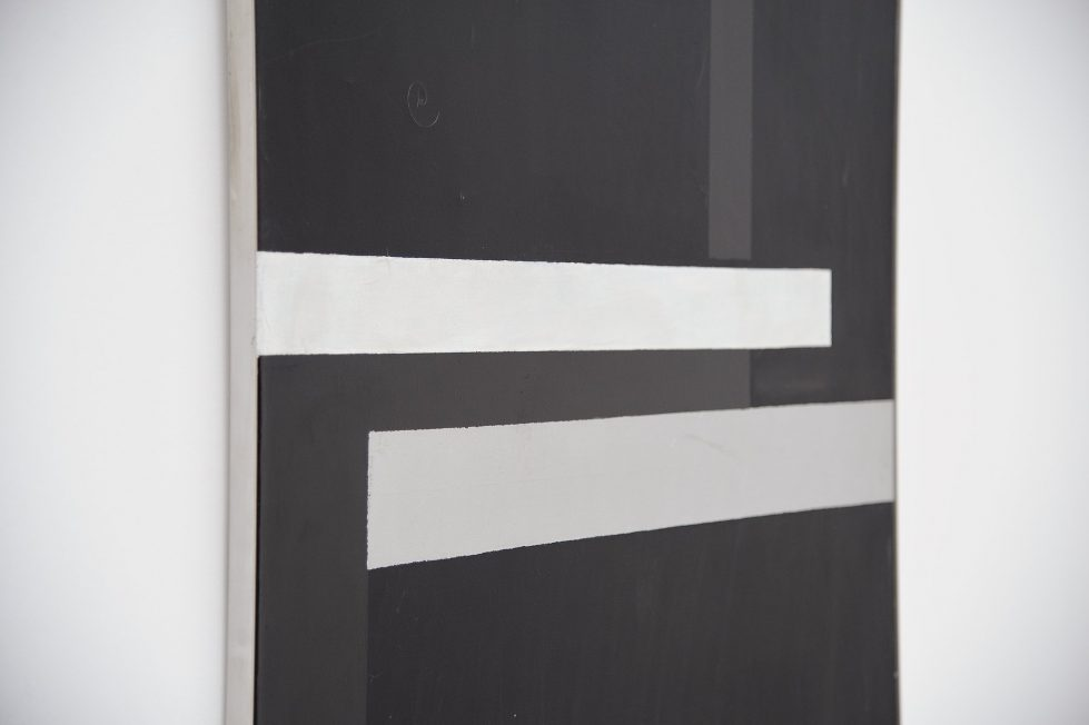 Rudolf Wolf abstract geometric painting on canvas 1980