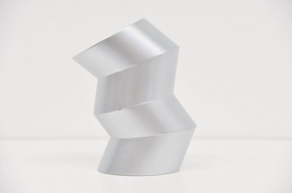 Rudolf Wolf abstract metal zig zag sculpture 1972