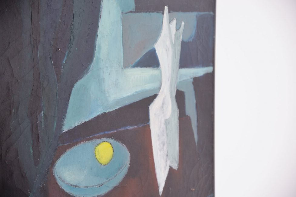 Rudolf Wolf abstract modern painting on canvas 1952