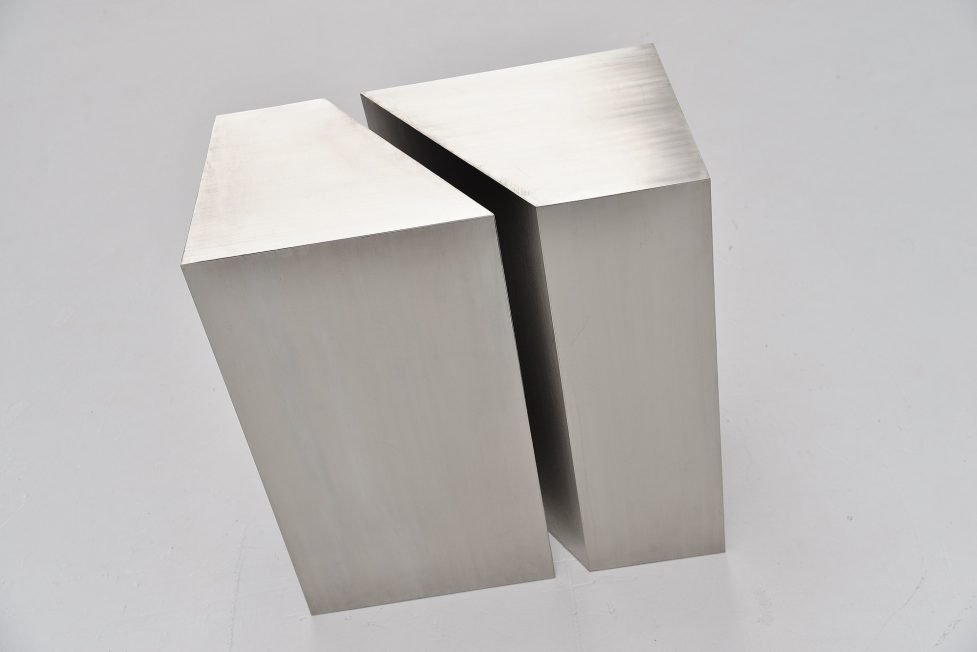 Rudolf Wolf large abstract modern brushed steel sculpture 1974
